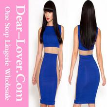 Dame de la mode 2013 bleu, corps panneaux- affectueux robe midi