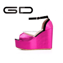 Woman Ivory Fashion High Heel Shoes peep toe Satin Bridal Wedding Wedge Sandals