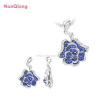 Patented Technology 3D Rose fashion gemstone jewelry sterling silver necklace