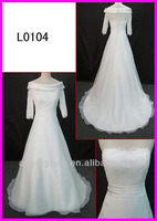 2013 guangzhou muslim style strapless lace Organza A-line bridal gowns/wedding dress with detachable elbow sleeves jacket L0104