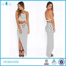 New Fashion Stripe 100%Rayon Two Piece Skirt Suits Women
