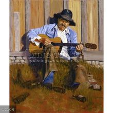 100% Hand-painted landscape art cowboy oil painting on canvas,playing music