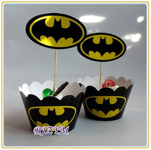 spiderman black color paper kids birthday party cake cup print pattern Cupcake Wrapper and Topper