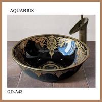 black color well glazed and enamel decorative washing basin