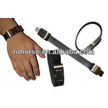 16GB USB 2.0 METAL SILVER WATCH STYLE WITH BLACK BELT FLASH DRIVE Easy to Wear and Use