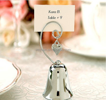 Wedding favors and decoration Bell Place name Card/Photo Holder with Dangling Heart