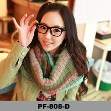 2015 Girls winter lovely knitted scarf stripe multicolor thick winter knit scarf