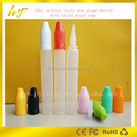 the 2015 newest design beautiful profile(unicorn and pen shape ) e liquid plastic bottle with childproof cap