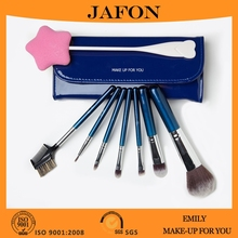 7 Piece Soft Bristles Makeup Brushes Travel Makeup Brush Kit With Royal Blue Cosmetic Brushes Case