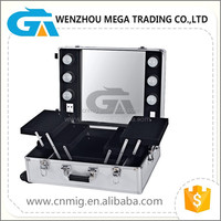 Portable Makeup Box/Aluminum Cosmetic Case With Light And Mirror