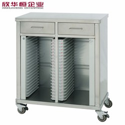 Stainless steel medical trolley hospital dossier trolley with 2 drawers SS 304