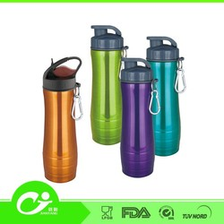 insulated straw 400Ml double SS plastic sports water bottle