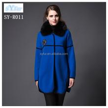 fashion loose girls 100% cashmere coat women's luxury wool coat with mink fur collar winter coat