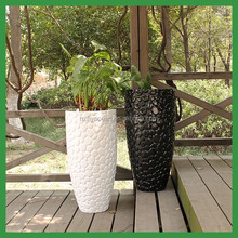 FO-226 outdoor round fiberglass flower pots for home garden decorate