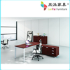 l shaped wood office desk with alluminium frame LB-04