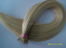 Grade7a indian Chinese quality wavy nano ring remy hair