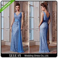 Elegant Lace Appliques Sleeveless V Neck Light Blue Mother Of The Bride Dresses