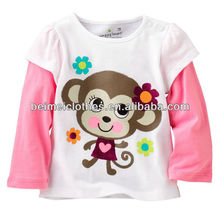 100% cotton baby girl long sleeve T-shirt kid pyjamas