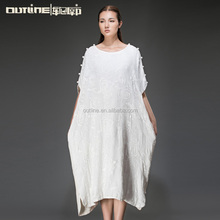Lunkuo 2014 New Design Top Quality Long Elegant Cap Sleeve Embroidery Cotton and Silk Pakistani Maxi Dress White