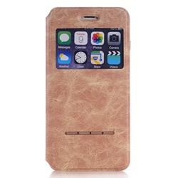 Slip Answer Call Leather Window View Smart Case Cover for iPhone 6