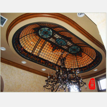 Indoor using ornamental stained glass ceiling roof dome with chandelier