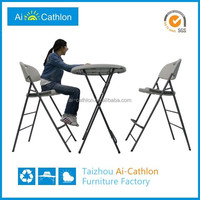 """31.5"""" blow molded tall small round plastic portable bar table and chairs"""