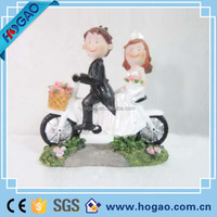 Wedding Cake Topper Figure Bride and Groom Couple on Motorcycle Funny Humorous