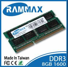 retail packing ram ddr3 SO-dimm 1600MHz 8GB memory. Laptop notebook OEM Rammax Taiwan