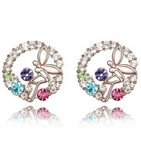 Free Shippg Young Girl Party Butterfly in the Garden Crystal Stud Earring