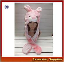 XJ01188/Pink Bunny Animal Plush Warm headwear / long Hat earmuff Scarf Gloves Mitten fluff headwear