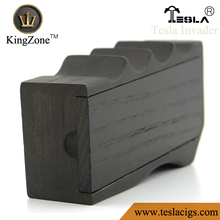 factory price and high quality and fast delivery kingzone tesla trademark tesla invader box mod black wood with MOS