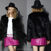 Women Collarless Cropped Faux Fur Coat/Casual Small fox fur jacket ladies