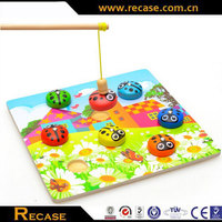Fancy wooden toys to study education lady beetle small animal magnetism infants parent-child training toy