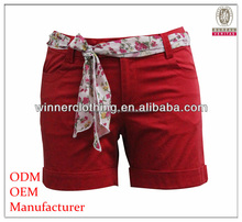 2015 ladies latest design casual smart daily wear red cotton shorts with belt