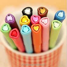 2015 novelheart shape crystal top 12 color gel pen promotion for school and office