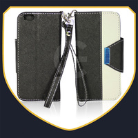 For iphone 6 leather wallet case with magnetic pouch ,2 colors in one leather case