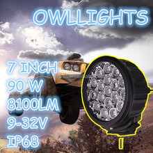 Super bright!new products! auto parts 4x4 accessories led car headlight 7inch 90w 12v led work light led driving light