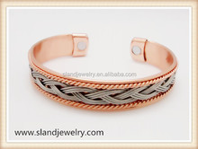 Best price high quality two tones braided copper bangle do copper bracelets help arthritis