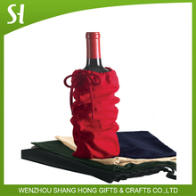 high quality wholesale single canvas cotton drawstring wine bag custom logo for promotion activity Christmas party gift