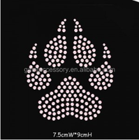 Rhinestone iron ons transfer Pawprint For Boutique and T-Shirt