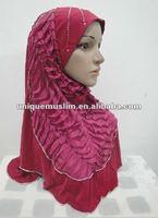 H126 new design many layers muslim hijab with rhinesones