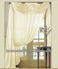 Solid color voile curtain with valance