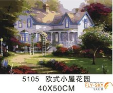 2014 hot sale building painting printing picture by number