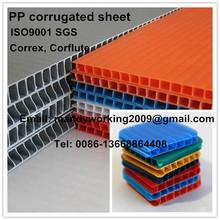 Corrugado pp hoja de plástico, pp corrugado panel de plástico