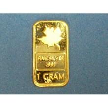 1Gm Canadian Maple Leaf Design Pure .999 Gold Bullion Bar