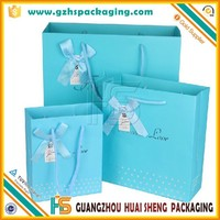 blue color high quality white board paper bags hard shopping bag