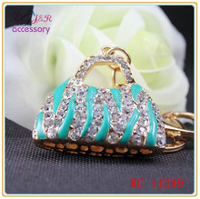 South Korea style fashion handbag shaped crystal pendant keychain
