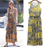 Fashion Women Sleeveless O-neck Floral Chiffon ankle-length suits dress SV015771