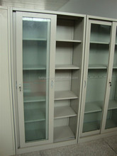 Tall glass office storage cupboard cabinet/Transparent steel hospital cabinet