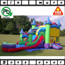 hotsale large inflatable water slide with bounce house and side